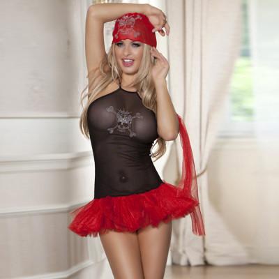 Костюм піратки Sunspice чорний з червоним, OS - червоний/чорний – фото 1