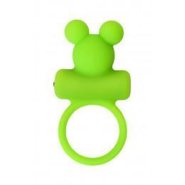 Эрекционное виброкольцо  A-Toys в виде мишки, салатовое – фото