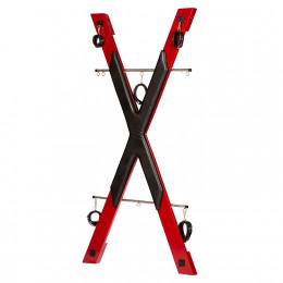БДСМ установка для прочуханки Roomfun у вигляді хреста, червоно-чорна