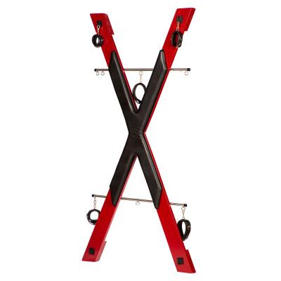 БДСМ установка для прочуханки Roomfun у вигляді хреста, червоно-чорна - червоний/чорний – фото 1
