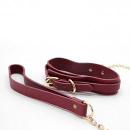 Ошейник с поводком-цепочкой с металлической фурнитурой, бордовый – фото