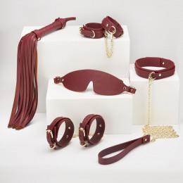 Набір БДСМ з екошкіри, 6 предметів, бордовий – фото
