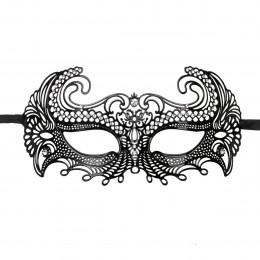 Венеціанська маска металева, чорна – фото