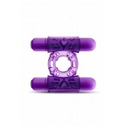 Ерекційне кільце з подвійною вибропулей, фіолетове – фото