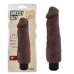 Реалистичный вибратор Greedy Guy из киберкожи, коричневый, 24 см х 5.5 см – фото