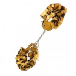 Наручники з золотим металом і леопардовим хутром – фото
