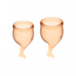 Набор менструальных чаш Satisfyer (Сатисфаер) Feel Secure (orange), 15мл и 20мл – фото