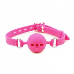 Кляп  силикон розовый шар М  – фото