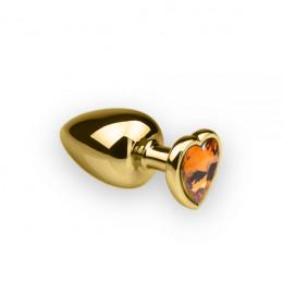 Анальна пробка з каменем у формі серця Gold, L, 9х4см – фото
