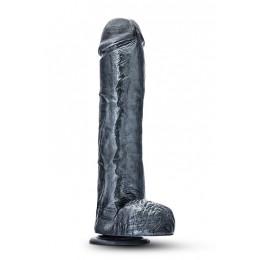 Фалоімітатор з мошонкою, на потужній присоску, металік – фото