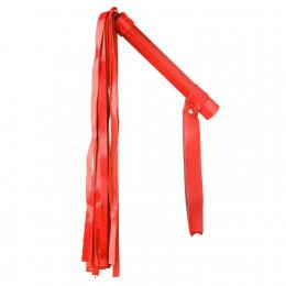 Флоггер (батіг) без заклепок, з лакової локшиною, червоний,  – фото