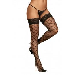 Чулки эротические черные, с узором сетки и кружевной резинкой, S/M – фото