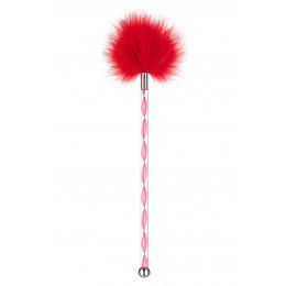 Пушок на длинной ручке красный, с металлическим шариком на конце – фото