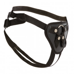 Трусики для страпона с 2 кольцами для крепления (металлическое и силиконовое), черные – фото