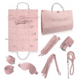 Стильный бондажный набор в сумочке, розовый, замкожа – фото