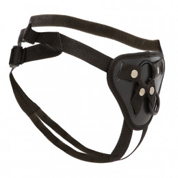Трусики для страпона с 2 силиконовыми кольцами для крепления, черные – фото