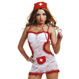 Костюм медсестры белый с кружевом открытая спина 4 пред LeFrivole L/XL – фото