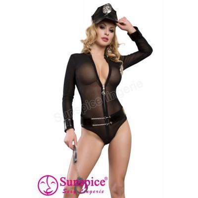 Костюм Полицейская  Sexy, L/XL (маломерный, на размер M) - черный – фото 1