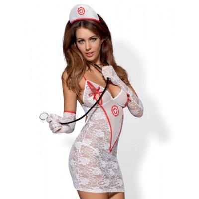 Ролевой костюм медсестры 5 предметов, S/M - белый – фото 1