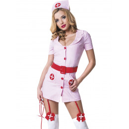 Костюм медсестри рожевий з червоним поясом 3 предмета M/L – фото