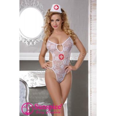 Костюм секси медсестри у вигляді боді, розмір One size - білий – фото 1