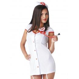 Костюм медсестры короткий халат белый S/M – фото