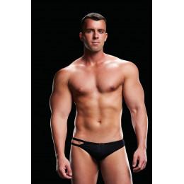 Эротические стринги мужские с двумя полосками LOW-RISE THONG BLACK,(One size) – фото