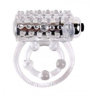 Ерекційне кільце Get Lock подвійне з вибропулей, прозоре - білий – фото 1