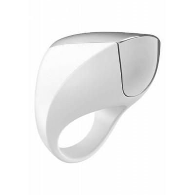 Ерекційне кільце з вібрацією OVO A1 - білий – фото 1