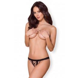 Эротические стринги с широкой резинкой кружевные, чёрные   L/XL – фото