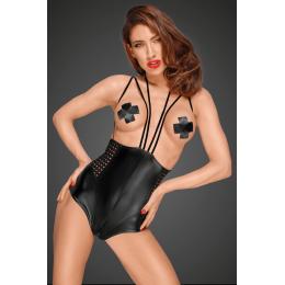 Боді еротичний з вінілу на бретельках Noir Handmade M чорний – фото